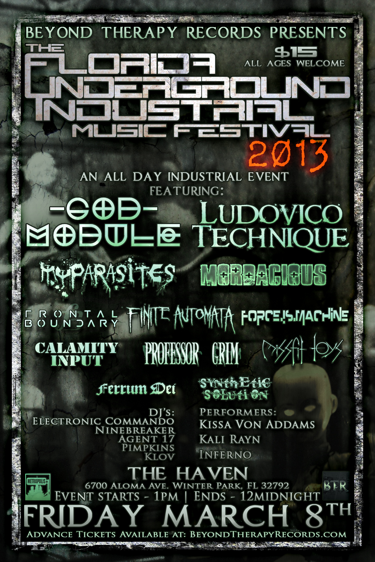 Beyond Therapy Records Presents The Florida Underground Industrial - 8 great florida music festivals
