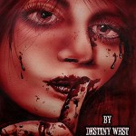Horror novel bound in real blood cover art