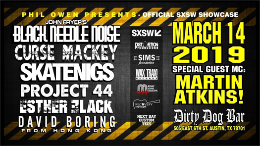 Skatenigs front man Phil Owen to present special showcase at SXSW, including live debut of Black Needle Noise